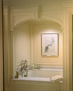 There is something incredibly refined about a bathtub alcove. Today I decided to pull together all white tub a. Dream Bathrooms, Beautiful Bathrooms, White Bathrooms, Luxury Bathrooms, Master Bathrooms, Small Bathrooms, Bathtub Alcove, Big Bathtub, Bathroom Inspiration