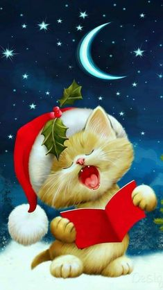 Boa noite de sono · goodnight sweet dreams of a merry christmas! Good Night Sister, Cute Good Night, Good Night Sweet Dreams, Good Night Image, Good Morning Good Night, Good Night Quotes, Christmas Cats, Christmas And New Year, All Things Christmas