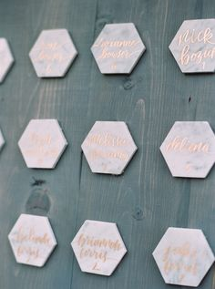 Marble calligraphy escort cards: http://www.stylemepretty.com/2016/04/15/outdoor-wedding-with-show-stopping-florals/ | Photography: Apryl Ann -  http://www.aprylann.com/