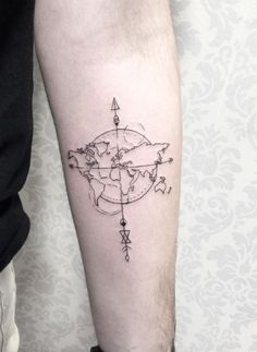 Geometric world map compass arrow nautical travel tattoo design more world map tattoo gumiabroncs Choice Image