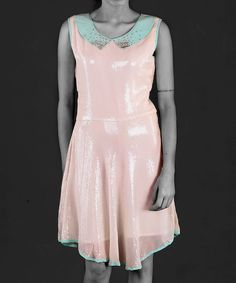 White Shimmer Collar Dress.find more women fashion on www.gawzus.com