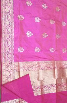 Pink Handloom Banarasi Pure Katan Silk Saree Phulkari Saree, Kasavu Saree, Banarasi Sarees, Silk Sarees, Bandhini Saree, Velvet Saree, Saree Models, Pochampally Sarees, Buy Sarees Online
