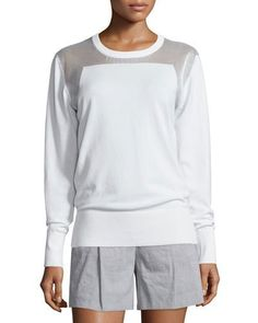 DKNY Sheer-Trim Pullover Sweatshirt, White