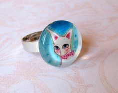 Cat ring , cat jewelry, cat lover gift, mothers day, spring jewelry. white cat, kitty ring