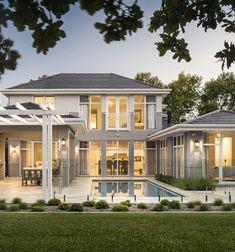 FYI: Hamptons Custom Home in Applecross – Oswald Homes Patio Interior, Interior Exterior, Hamptons Style Homes, The Hamptons, Custom Home Designs, Custom Homes, Villa, First Home Buyer, Facade House