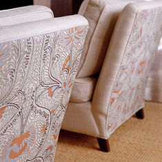 use contrasting print on back of upholstered chairs