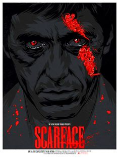 Scarface Variant Poster by Justin Erickson via Phantom City Creative 5 color print, S/N by Artist. Edition of 60 available from TommyGood I realise I'm in the minority here, but Scarface is. Film Scarface, Scarface Poster, Scarface Quotes, Creative Posters, Cool Posters, Bon Film, I Love Cinema, Movies And Series, Cinema Posters