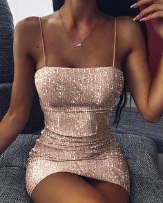 Glitter Spaghetti strap Sequins Dress trendiest dresses for any occasions, including wedding gowns, special event dresses, accessories and women clothing. Hoco Dresses, Party Dresses For Women, Homecoming Dresses, Cute Dresses, Dress Outfits, Sheath Dresses, Going Out Dresses, Event Dresses, Prom Party Dresses