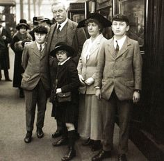 Sir Arthur Conan Doyle and Lady Conan Doyle, with their two sons and daughter at Waterloo Station, London, before their departure for the United States - 28 March 1923