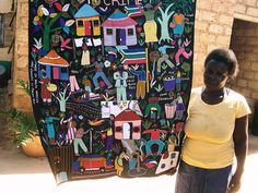 The scenes Maria Rengane embroiders on simple black cloth are alive with the comings and goings of life and the rich scenes of human interaction in the small market village of Soshanguve, South Africa, where she lives.Hand/Eye Blog