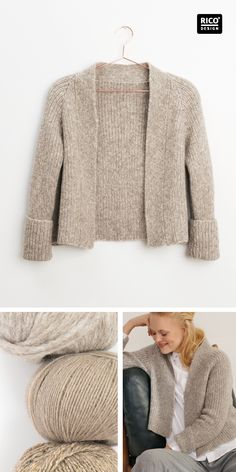 Mode-Basic: Jacke in A-Linie stricken, Knitting Books, Knitting Projects, Hand Knitting, Crochet Cardigan, Knit Crochet, Visible Mending, Pullover Designs, Textiles, Knitwear