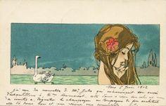 Raphael Kirchner - Leda and the Swan. Tags: leda, zeus, jupiter, transformations,