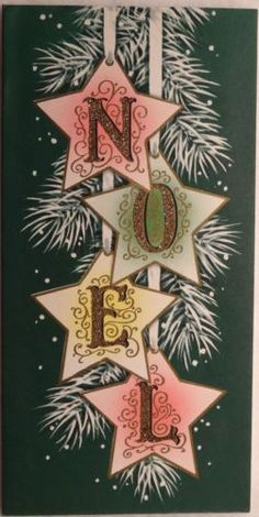 Cut out Stars (card stock) hole punch and ribbon. Stencils for letters. Stick to hang ribbon from.