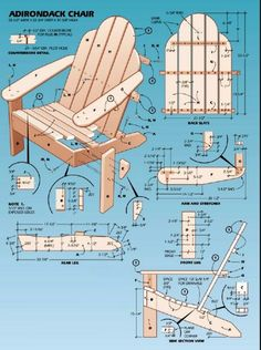 Classic Adirondack Chair Plans - Outdoor Furniture Plans and Projects - Woodwork, Woodworking, Woodworking Plans, Woodworking Projects Pallet Crafts, Pallet Projects, Wood Crafts, Diy Wood, Diy Crafts, Pallet Furniture, Furniture Projects, Furniture Plans, Outdoor Furniture