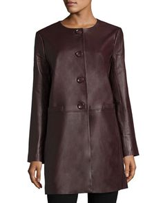 Basic+Long+Leather+Jacket+by+Neiman+Marcus+at+Neiman+Marcus.