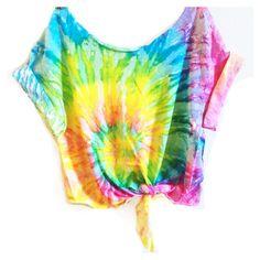 Tie Dye Crop Top Coachella Crop Top TieDye Tshirt Women's Clothing Music Festival Tumblr Tee Hippie Style Tops Hipster Summer Wear ($25) found on Polyvore featuring tops, shirts, crop top, tye die t shirts, hippie t shirts, tie die shirts and button t shirt