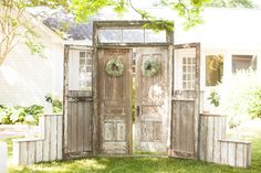 rustic doors for an outdoor ceremony | Nancy Ray Photography #wedding