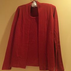 New With Tags Red Charter Club sweater Red Charter Club dressy sweater with attached cami that has crystal like stones on it.  100% acrylic. NWT Never Worn Charter Club Sweaters Cardigans