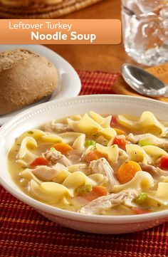 Classic leftover turkey soup recipe made quickly with frozen vegetables and noodles for enjoying the leftover turkey Slow Cooker Recipes, Crockpot Recipes, Soup Recipes, Cooking Recipes, Dinner Recipes, Leftover Turkey Soup, Turkey Leftovers, Turkey Noodle Soup, Leftovers Recipes