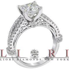 2.76 Carat F-SI2 Certified Princess Cut Diamond Engagement Ring 18k White Gold - Liori Exclusive Engagement Rings - Engagement - Lioridiamonds.com