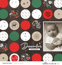 December Making Memories digital scrapbook page using Holly Days by Sahlin Studio