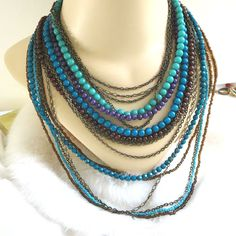 Multi Strand Beaded Necklace Vintage in Shades of Blue & Purple by MyVintageJewels on Etsy