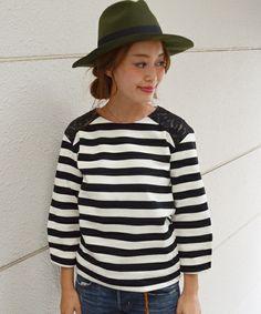 SHIPS for women casual(シップスフォーウィメンカジュアル)のボーダーレースコンビプルオーバー(Tシャツ/カットソー)|ブラック