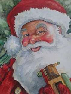"""Santa III,  Approx. 11"""" x 14""""/Watercolor and watercolor pencil, by Cathy Schneider."""