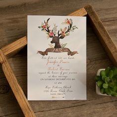 bohemian deer flower wedding invitations EWI414 as low as $0.94 |