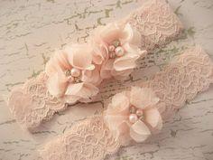 Wedding Garter , Blush Garter, Set with Toss Garter in Blush  , Bridal Garter with Chiffon Blossoms pearls and rhinestones @Ellison Ingram