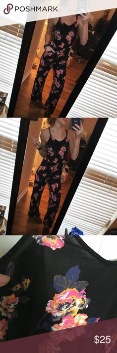 Kendall and Kylie jumpsuit Kendall and Kylie floral print jumpsuit, size xs. I am 5'6 in the modeled photo  No holes or stains. No trades. Bundle for discounts!  Or shoot me an offer!! Kendall & Kylie Pants Jumpsuits & Rompers