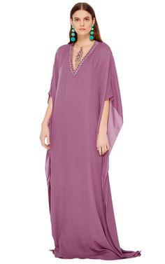 Badgley Mischka Purple Embellished Illusion Neck Caftan by BADGLEY MISCHKA for Preorder on Moda Operandi