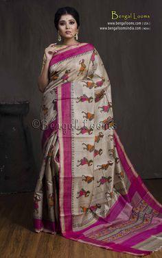 Pure Handloom Tussar Saree with Hand Blocked Kalamkari Print in Beige, Rani and Black. Kalamkari Saree, Ikkat Saree, Silk Sarees, Printed Sarees, Saree Styles, Cotton Saree, Indian Sarees, Bengal, Sarees Online