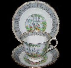 Royal Albert's Silver Birch pattern. My grandmother gave me this set and I need a china hutch to display it properly.
