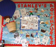 Make this bulletin board on a tri fold board with an extra copy of each child's flat and a map...