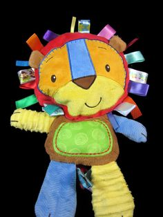 "Taggies Patchkin Lion Squeaker Plush Lovey Soft Toy 14"" Kids II #Taggies"