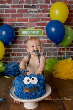 Boys First Birthday Party Ideas, 1st Birthday Pictures, 1st Birthday Themes, Baby Boy 1st Birthday, 1st Boy Birthday, Elmo Smash Cake, 1st Birthday Cake Smash, Number Balloons Birthday, Happy Birthday Balloon Banner