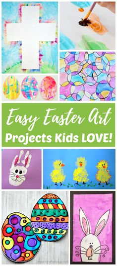 Easy Easter art projects for Kids (and adults) will help you keep your children (and other houseguests) busy over spring break. Toddlers, preschoolers, kindergarteners, and school aged kids LOVE Easter artwork like these fun Easter egg, bunny, chick and Christ-centered art ideas. #easyEastercraftsfortoddlers