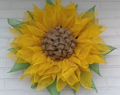 Yellow Poly Burlap Sunflower Wreath with Lime Leaves