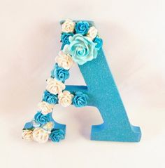 Flower name letter - Blue letter A - Nursery decor - Custom name letter - Wedding decor - Wood letter A - Baby shower gift - Valentine gift Wall Letters Decor, Decorating Letters, Diy Letters, Wood Letters, K Crafts, Diy Crafts Hacks, Hobbies And Crafts, Flower Letters, Flower Names