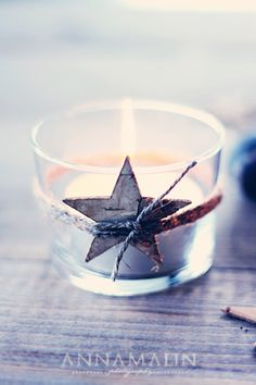It's a long time till Christmas, but I saw this picture and had to pin it. I have these wooden stars, but do not know what to do with is and now I know!