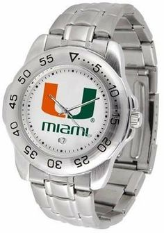 Miami Sport Men's Steel Band Watch by SunTime. $54.95. This handsome, eye-catching watch comes with a stainless steel link bracelet. A date calendar function plus a rotating bezel/timer circles the scratch resistant crystal. Sport the bold, colorful, high quality logo with pride.. Save 24%!