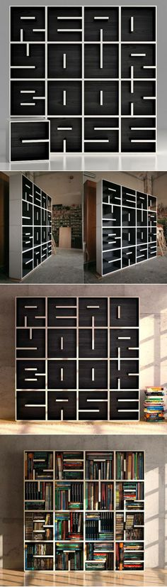 "Modular bookcase, ""ABC Bookcase,"" designed by Eva Alessandrini and Robert Saporiti. A great example of the use of line direction – these short lines form letters. The modular units can be combined to form different words."