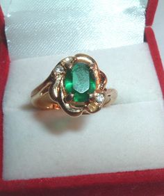 Emerald Glass White Crystal Gold Ring Size 6 in Box Gold Rings, Gemstone Rings, Emerald, Fashion Jewelry, Turquoise, Writing, Gemstones, Crystals, Box