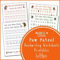 FREE Paw Patrol Learn To Write And Letter Recognition Printable Worksheets Entire