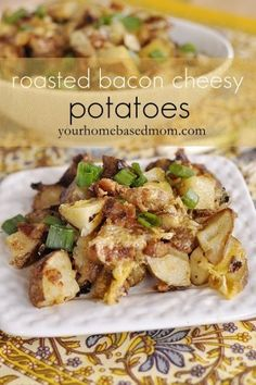 Roasted Bacon Cheesy Potatoes are the perfect accompaniment to any meal, especially your Easter ham. They are covered in cheese and bacon - yum!