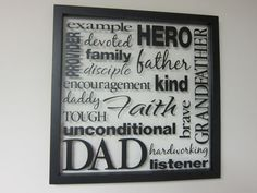 Father Dad Grandfather Word Collage Vinyl by WildEyesSigns Vinyl Crafts, Vinyl Projects, Word Collage, Name Blocks, Framed Words, Daddy Day, Creation Crafts, Bazaar Crafts, Diy Father's Day Gifts