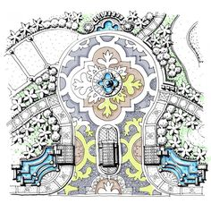 Spanish Gateway and Paving Pattern, Landscape Blowup Plan