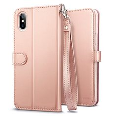 Coque iPhone X Rose ESR iPhone 10 Coque à Rabat Portefeuille en Cuir PU  Premium avec Fente pour Carte Bleu Support et Sangle Housse Etui de  Protection ... da1f32f0ee78