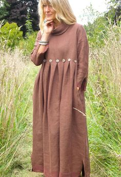 http://www.terrymacey.com/index.html - Winter Button dress in brown/gold linen £275.